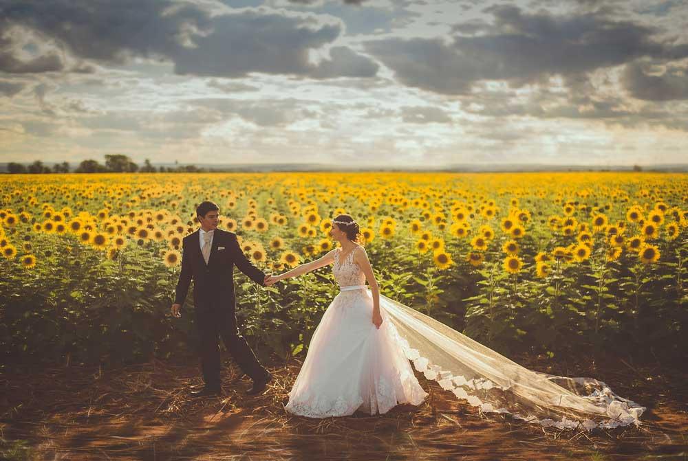 Bride and Groom in Salt Lake City Field of Flowers